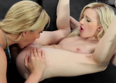 Hot mother Cherie eats Skylar's young pussy